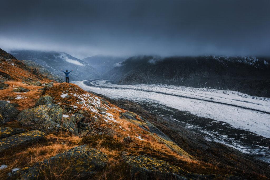 Ja i najdłuższy lodowiec Alp - Aletschgletscher.