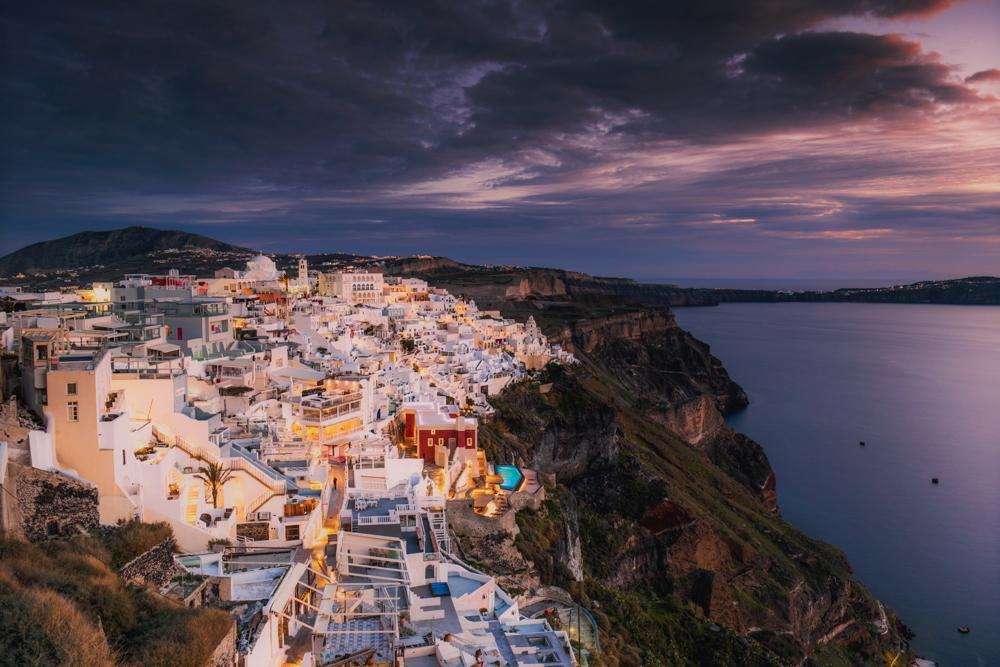 Santorini - warto zobaczyć. Panorama Thiry.