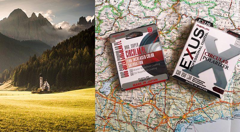 Recenzja filtrów polaryzacyjnych Marumi EXUS oraz DHG Super – jesień w Alpach.