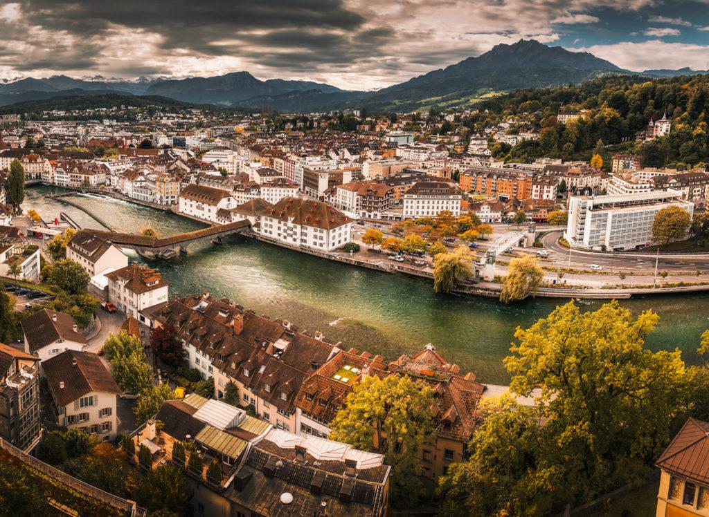 Panorama Lucerny z  Männliturm. Co zobaczyć w Lucernie.