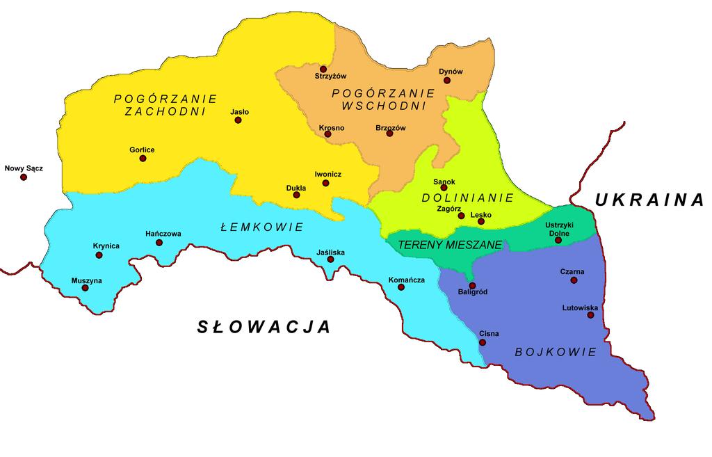 Mapa Łemkowszczyzny