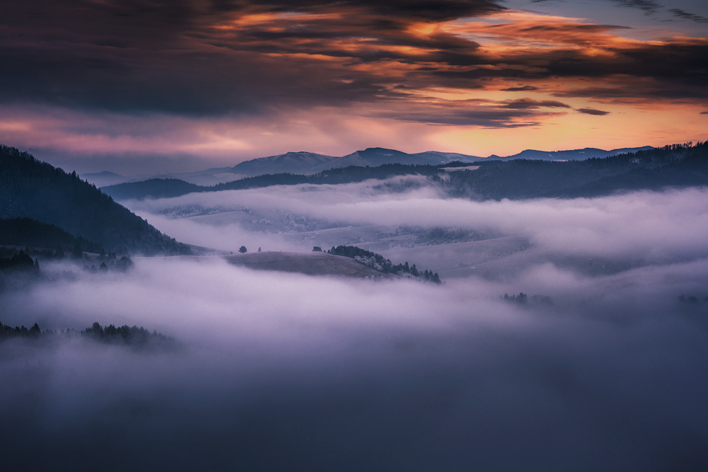Morze mgieł pod Wysokim Wierchem, Pieniny.
