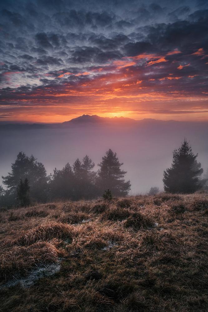 Zachód nad Tatrami, Wysoki Wierch, Pieniny