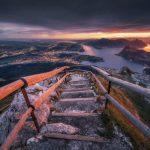 Szlak pieszy na Pilatus, szczyt Esel, wschód słońca