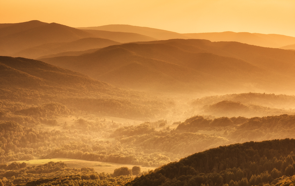 Pasmo Graniczne w Bieszczadach - panorama z Połoniny Wetlińskiej.